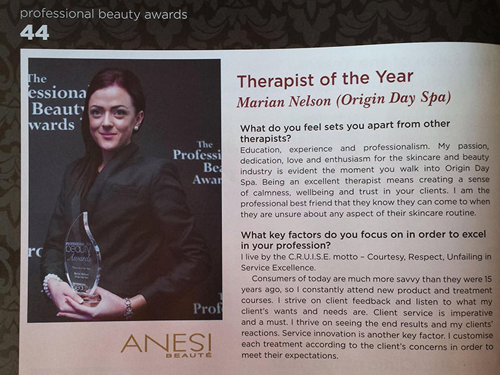 Alumni student Marian Nelson wins Therapist of the Year 2014 Professional Beauty Awards